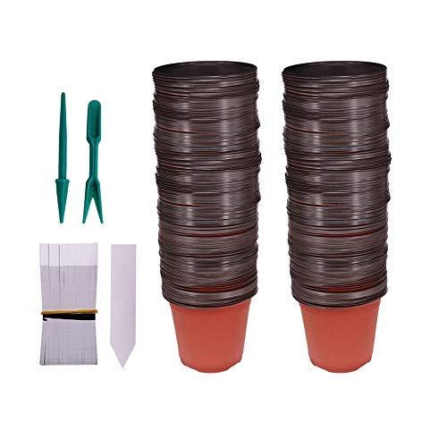 Huvai 100Pcs 10,2cm Kunststoff Setzlinge Pflanzen Anzuchttöpfen mit 100Pcs Wasserdicht Kunststoff Pflanze Tags und 2/Set Umpflanzen Graben Mini Tools Mini-graben