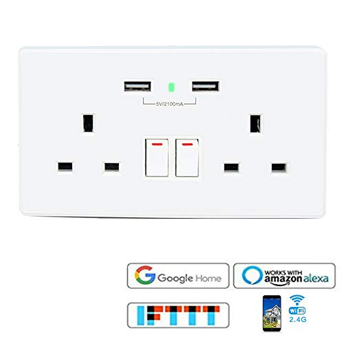 VIGICA 2 1A USB Charger 13A WiFi Wall Socket Smart Switch Outlet Plug  Compatible with Amazon Alexa Echo and Google Assistant IFTTT,No Hub Required