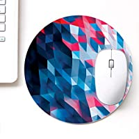 DASM United UVDesigner Printed Round Mouse Pad for Laptop n Computer | Red Blue Polygon | Mousepad for Gamers | Gaming Mousepad