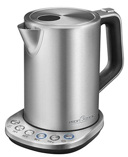 Profi Cook PC-WKS 1108 Edelstahl-Wasserkocher, 1,5 L, maximal 1850-2200 W, Wasserstandsanzeige, elektronische Temperatureinstellung, Warmhaltefunktion, inox