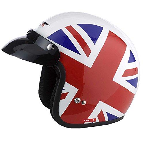 Vcan V500Open Face moto/Moto casco-Union Jack