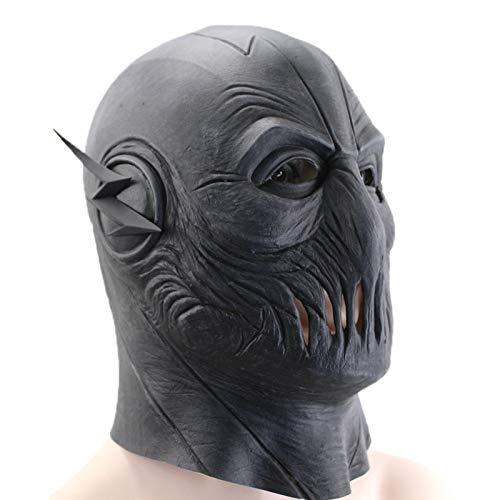 Kostüm Marvel Villain - VAWAA Cosplay Zoom Maske Marvel Tv Flash Maske Latex Fullhead Atmungsaktive Halloween Party Schwarze Maske Cosplay Kostüm