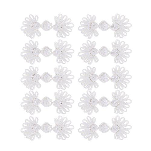 perfk 5 Paare Traditionelle Chrysantheme Chinesische Knoten Frosch Verschluss Nähen Stricken Klein Knöpfe Set - Weiß, 80 x 33 x 10 ()