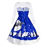 Luckycat Damen Vintage Spitze Langarm Print Weihnachten Party Swing Dress Abendkleider Cocktailkleid Partykleider Blusenkleid Mode 2018