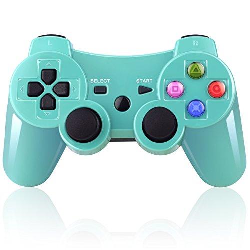 Mando Inalámbrico Bluetooth Controller Doble Vibración para Sony PS3 PlayStation 3 con Funciones SIXAXIS -(verde)