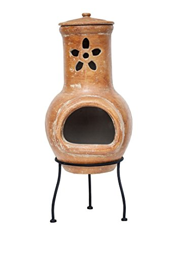 La Hacienda Clay Chiminea with Flower cut out design Patio Heater