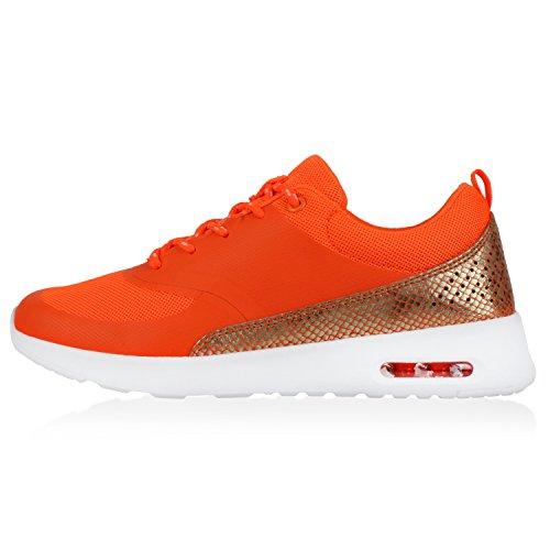 Stiefelparadies Damen Sportschuhe Runners Sneakers Laufschuhe Fitness Trendfarben Sportliche Schnürer Flandell Neonorange Avion