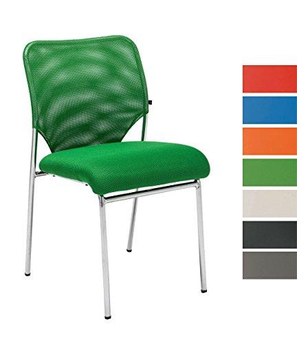 CLP Stapel-Stuhl / Besucherstuhl KLINT, Konferenzstuhl mit Netzbezug, Wartezimmerstuhl gepolstert Grün