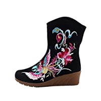 Tianrui Crown Women and Ladies Rosefinch Embroidery Mid-Calf Boots Wedge Short Boot Shoes