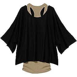 MERISH Túnica para Mujer Blusa Batwing Manga Corta Camiseta Top 3/4 Negro 36