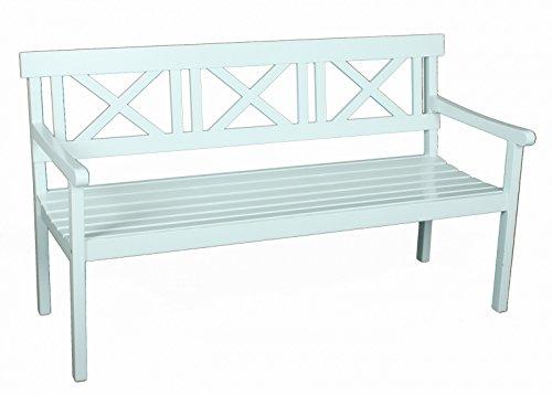 Gartenbank 3-Sitzer weiss Eukalyptus FSC Holz