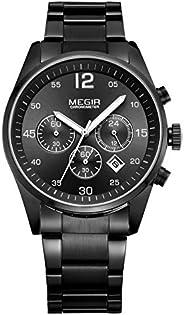Megir Mens Quartz Watch, Chronograph Display and Stainless Steel Strap - 2010