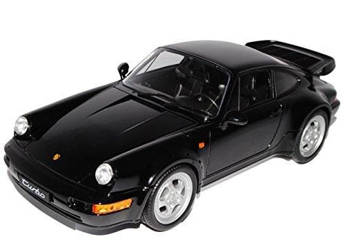 Turbo Modell Porsche 911 (Porsche 911 964 Turbo Coupe Schwarz 1988-1994 1/18 Welly Modell Auto mit individiuellem Wunschkennzeichen)