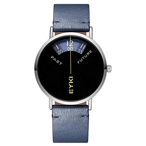 DLT Kreative analoge Herrenuhr, Mode-Sektor kein Zeiger-Gesicht-Sport-Mann-Uhren, einfache Quarzuhr-Mann-Armbanduhr, Leder-Armbanduhr (Farbe : Blau)