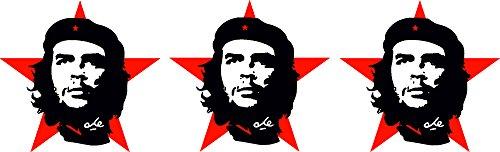Etaia - 3X Mini - 5x5 cm - Auto Aufkleber Che Guevara roter Stern Revolution in Kuba Miniatur Sticker Motorrad Bike Fahrrad -