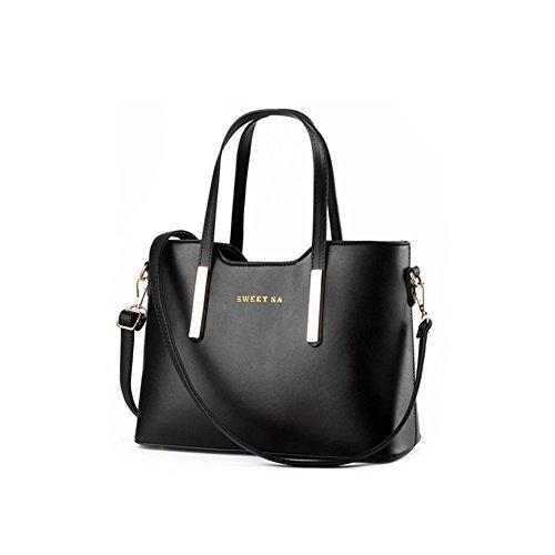 xiaoxuan Vintage Stil Groß Kapazität Schultertasche Damen Handtasche Messenger-Tasche, weiß (Weiss) - BG00016H schwarz