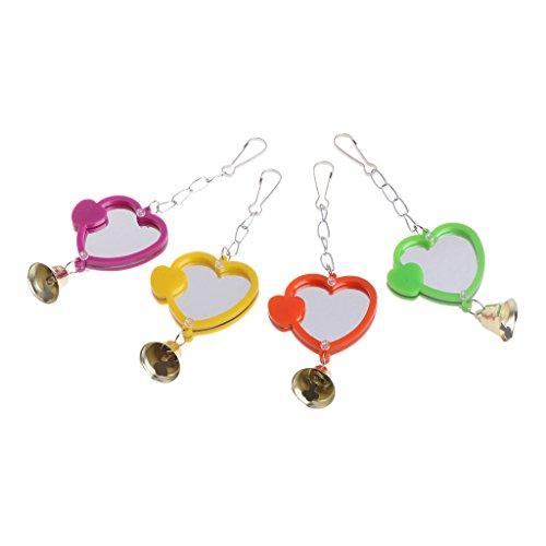 g, Lustige Mini Vogel Spiegel Mit Bell Stand Spiegel Spielzeug Für Papageien Hängen Spiel Spielzeug Für Vögel, Farbe Zufällig ()