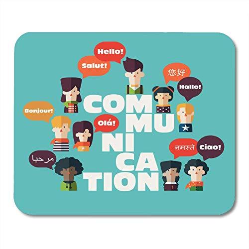 Mauspads Ausländische männliche und weibliche Personen mit bunten Dialog-Sprechblasen in verschiedenen Sprachen und der Wort-Mausunterlage für Notizbücher, Bürozubehöre des Tischrechners