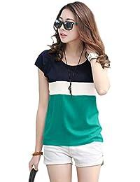 METRO-FASHION Color Block Women Round Neck T-Shirt