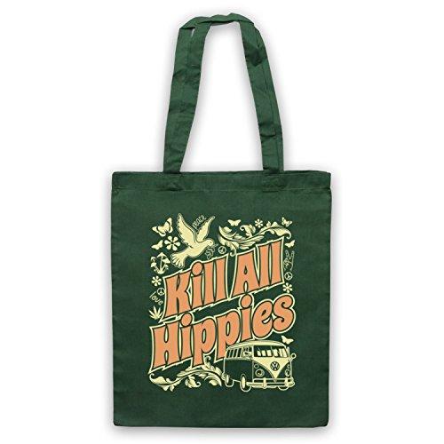 Kill All Hippies Funny Slogan Umhangetaschen Dunkelgrun