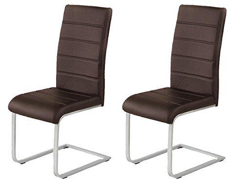 2-x-Agionda--Freischwinger-JAN-PIET-braun-mit-hochwertigem-PU-Kunstleder-NEU-Jetzt-120-kg-belastbar-einteiliges-Gestell-Stuhl-Polsterstuhl-Esszimmerstuhl-Set