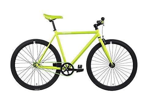 FabricBike- Vélo fixie vert, fixed gear, Single Speed, cadre Hi-Ten acier, 10Kg (Green & Black, L-58)