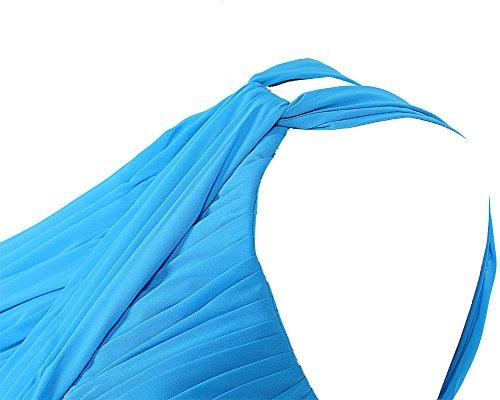 Dresstells Damen Kleider Kurz Chiffon Partykleid Ballkleider Ein-Träger Purpur