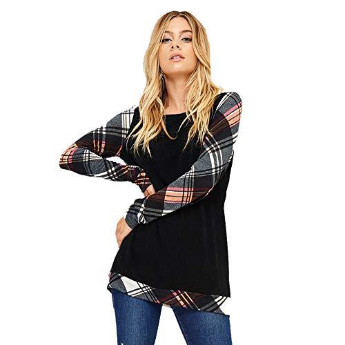 TianWlio Hoodie Pullover Damen Sweatshirt Langarmshirt Bluse Kapuzenpullover Langarm Gitter Drucken Plaid Sweatshirt Pullover Tops Bluse