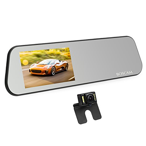 """BOSCAM R1 dash cam mit Rückfahrkamera, FHD 1080P Dual Lens Dash Kamera mit Spiegelmonitor, 4.5"""" IPS TouchScreen Autokamera mit G-Sensor, Loop Recording, Bewegungserkennung, IP68 wasserdichte backup camera mit LED Nachtsicht"""