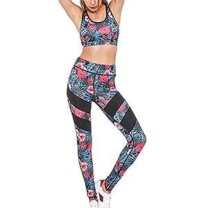 Juleya Frauen Sportanzug Yoga Weste BH + Leggings Sport-Set 2 Stück Blumen Gederuckt Elastizität Fitness Anzüge Sportwear für Yoga, Workout,Jogging,Lauf