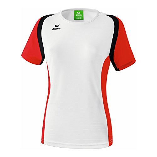 erima Damen T Shirt Razor 2.0, Weiß/Rot/Schwarz, 42