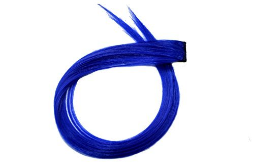 FULLY Blue Colour with Clip in Straight Piece Colored hair Extension For Kids, Girls & Women