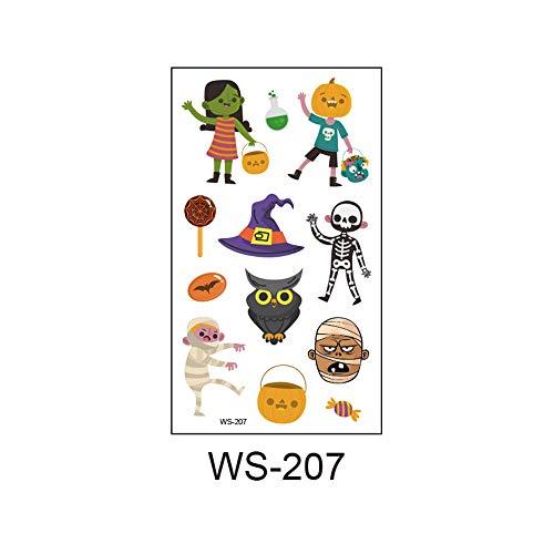 adgkitb 2019 Neue Halloween, Leuchtend, Kinder Tattoo Aufkleber, Umweltschutz, wasserdicht, Schweiß, lustige Cartoon Einwegaufkleber 39 10,5x6cm