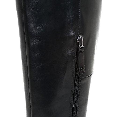 ALESYA by Scarpe&Scarpe - Bottes au genou avec coupe oblique, en Cuir, à Talons 9 cm Noir