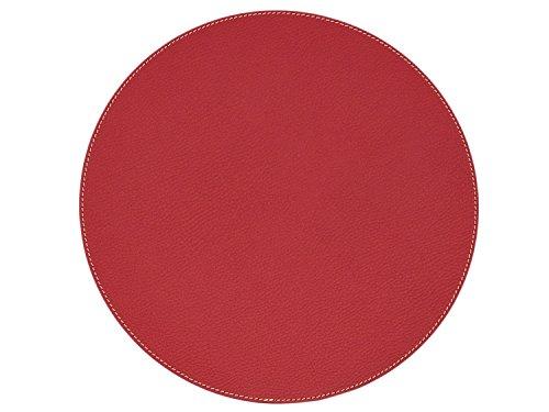 Nikalaz 1 Stück Rund Platzdecken, Rund Platzset, recyceltes Leder, 33 cm (Rot) (Champagner Farbige Tops)