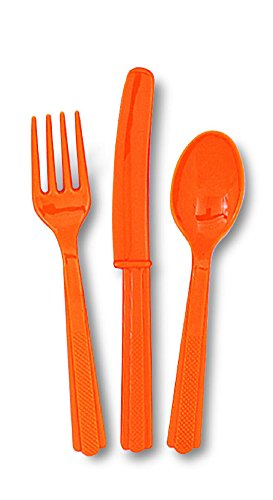 **** AWESOME VALUE BULK PARTY TABLEWARE - ORANGE - FREE UK POSTAGE **** (Packs of Plastic Cutlery, 36 Pack)