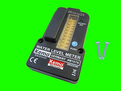 Preisvergleich Produktbild KEMO M167N-SET FÜLLSTANDSANZEIGE + BEFESTIGUNGS-KIT | Füllstand-Anzeige für Wassertank, Weintank, Zisterne/ Wasserspeicher/Klärkammer/ Gülletank/ Regentonne Fernmessung Wasserstand-Anzeige Sensor mit Befestigungsschrauben