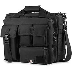 """GES Multifunción Mens al Aire Libre táctico Hombro de Nylon portátil Messenger Bag maletín Bolsos Grandes para 15.6""""portátil/cámara(Negro)"""