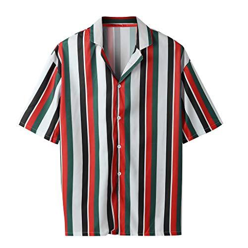 LILICAT_Tops Männer Sommer Casual T-Shirts Mode Hemden Beiläufig Gestreift Bluse Kurzarm Arbeitskleidung klassiker Oberteile Feierliche V-Ausschnitt Tops Strand Shirt