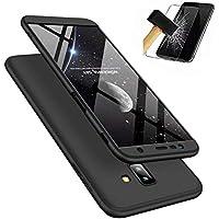Samsung Galaxy J4+/J4 Plus (2018) Hülle mit Panzerglas, MISSDU Thin Fit Hart PC Hardcase Schutzhülle Schale Schlanke Handyhülle Case (Schwarz)
