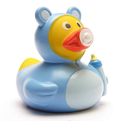 DUCKSHOP I Badeente Baby Junge I Quietscheente I L: 7,5 cm I inkl. Badeenten-Schlüsselanhänger im Set