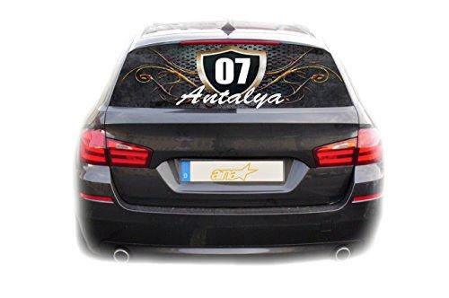 Preisvergleich Produktbild Auto KFZ Heckscheibe Fenster Aufkleber Antalya 07 Türkiye Plaka