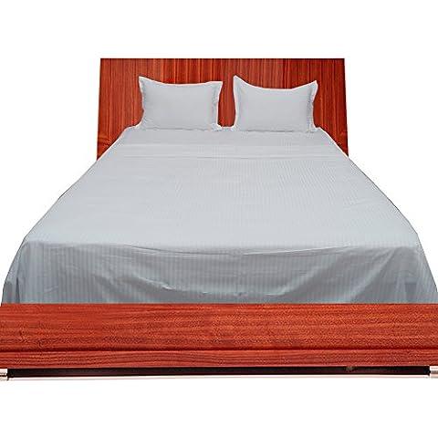 BudgetLinen 4PCs Sheet Set (Blanco raya , Rey Size150 x 200 cm (5' 6'' x 6') , Pocket Size 39cm) 100 % de algodón egipcio Calidad premium 400 número de