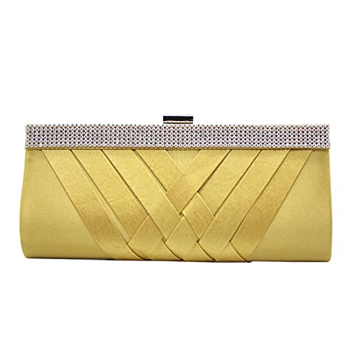 YYW Crystal Clutch Bag, Poschette giorno donna Gold