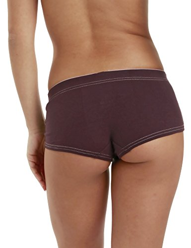 LisaModa 4er Pack sportliche Pantys Stretch Baumwolle Damen Hipster Braun