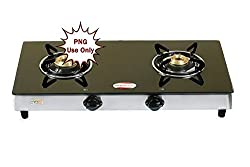 brightflame Tulip 2 Burner Glass Top Gas Stove Manual Ignition for PNG Customers