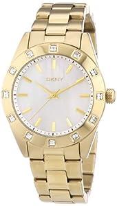 DKNY 0 - Reloj de cuarzo para mujer, con correa de acero inoxidable chapado, color dorado de DKNY