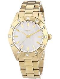 DKNY  0 - Reloj de cuarzo para mujer, con correa de acero inoxidable chapado, color dorado