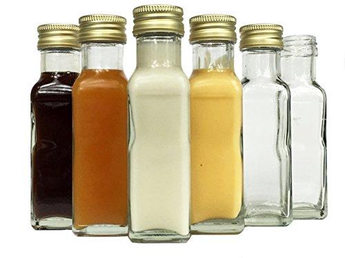 Glasflaschen Set mit Schraubverschluss Gold | 20 teilig | Füllmenge 100 ml | Maras Saftflaschen Spirituosen Likörflaschen Setzen Sie ganz einfach Ihr eigenes Öl an (Machen Sie Ihr Eigenes Bier)