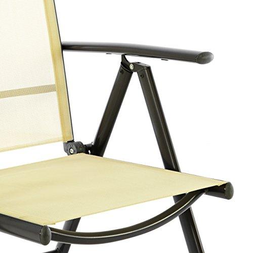 Nexos 4er Set Klappstuhl Klappsessel Gartenstuhl Campingstuhl Liegestuhl – Sitzmöbel – klappbarer Stuhl aus Aluminium & Kunststoff – Creme (Textilene) / anthrazit (Rahmen)